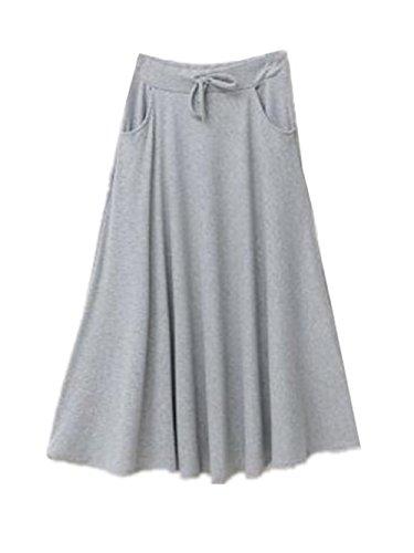 Skirt Femme Aoliait Mi Light Line ElGant Amincissante Haute Swing Jupe Couleur Femelle Jupe Jupe A Grey Taille Longue Jupe Unie Plisse 6dnr0xd