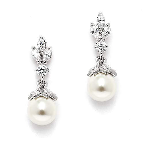 (Mariell Light Ivory Pearl Drop Vintage Wedding Earrings with Platinum Plated Cubic Zirconia Marquis)