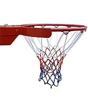 2PCS Red de Baloncesto HTINAC, Resistente al Desgaste 52 cm Aro de Baloncesto 12 bucle Arreglado Tablero de Baloncesto para interior o exterior (blanco, rojo y azul)