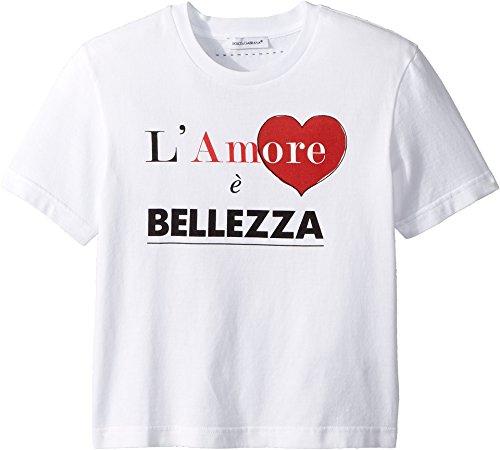 Dolce & Gabbana Kids Baby Girl's Love & Bellezza T-Shirt (Toddler/Little Kids) White 4 US Little Kid by Dolce & Gabbana