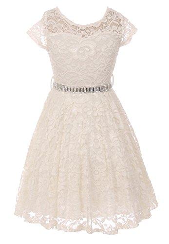 - iGirlDress Big Girls Floral Lace Flower Girls Dresses Ivory 12