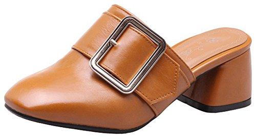 Mofri Women's Trendy Buckle Belt Square Toe Block Medium Heel Slide On Mule Shoes Brown
