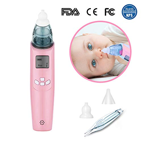 Nasal Aspirator - Newborns & Toddlers Baby Nose Cleaner Safe Battery Operated,LCD Screen, Flashing, Music,3 Strength Suction Nasal Tweezers - 2 Size of Soft Nose Tips FDA/CE/FCC/EN55014 EMC Approval