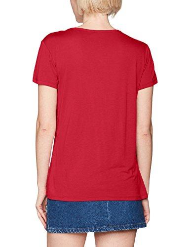 Tom Tailor Viscose Mix Blouse Shirt, Camiseta para Mujer Rojo (Scooter Red 4543)