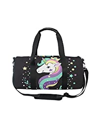 OuLian Gym Bag Fashion Comic Unicorn Rainbow Emoji Women Yoga Canvas Duffel  Bag Cute Sports Bag ... e776612277787