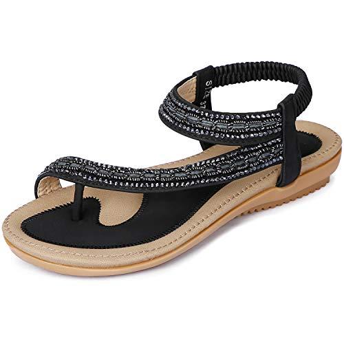 ZOEREA Women Sandals Shoes Flip Flops Ankle Strap Summer Sandals (10 M US, ()