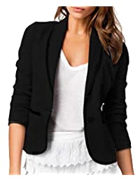 DressUWomen Long-Sleeve Short Mini Fit Button Lapel Plus-Size Blazer Outwear