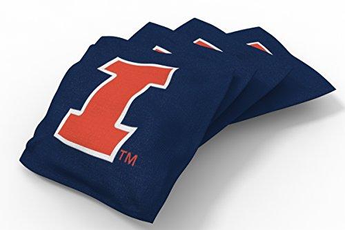 Wild Sports NCAA College Illinois Illini Blue Authentic Cornhole Bean Bag Set (4 Pack) ()