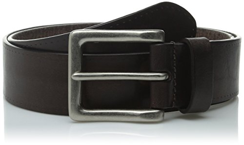 [John Varvatos Men's 38mm Leather Belt with Harness Buckle, Chocolate, 36] (Rounded Square Buckle Belt)