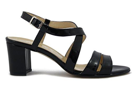 Osvaldo Pericoli, Sandalo elegante in pelle vernice nero, tacco 6cm. - 539e17