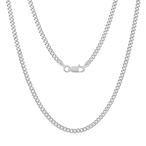 925 Sterling Silver 3mm Beveled Cuban Link Nickel Free Chain Necklace, 20