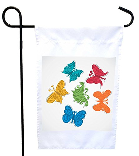 (Rikki Knight Colorpop Butterflies Design Design Garden Flag 12 x 18 Flag Size with 11 x 11 inch Image with Sturdy Black Wrought Iron Flag Pole (Proudly Printed in The USA))