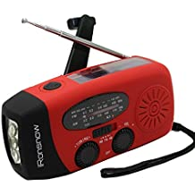 (2018 Version) iRonsnow Solar Emergency NOAA Weather Radio Dynamo Hand Crank Self Powered AM FM WB Radios 3 LED Flashlight 1000mAh Smart Phone Charger Power Bank (Red)