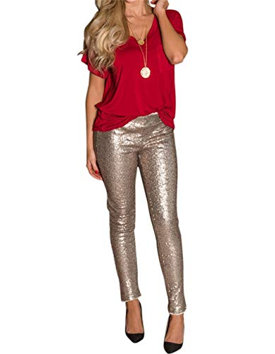Symina Women's Sexy Glitter Sequin Wide Leg Color Block Bell Bottom High Waisted Flared Stretch Palazzo Pants Plus Size, Bbbeige, X Large ()