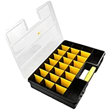 "SE 87322DB 26 Compartment Large Plastic Storage Box with Adjustable Sections, 18"" x 12"" x 3"", Black/Yellow/Clear"