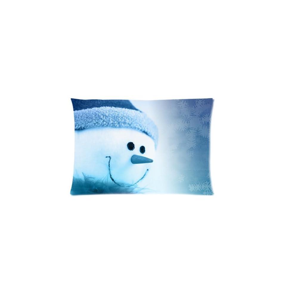 Cute Snowman Custom Pillowcase Covers Zippered Pillow Cases Cushions 20x30 (Two sides)