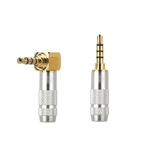Silver 3.5 Mm Jack (Timibis 2Pcs 4 Pole 3.5mm Barss Stereo Audio Plug Jack Connector Male Headphone Jack Soldering Spring Silver)