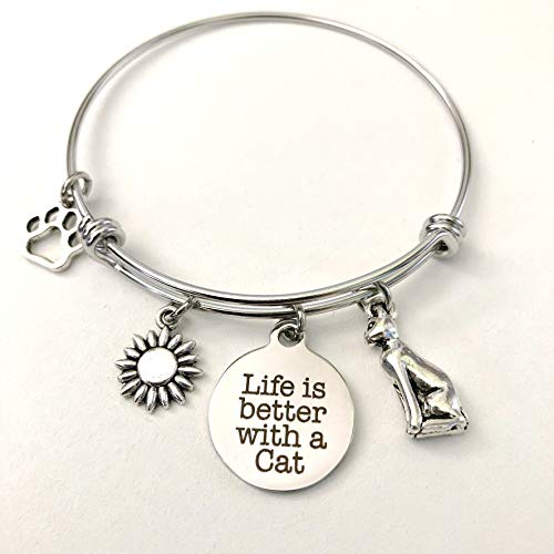 Life is Better with a Cat Charm Bracelet for Pet Lovers Kitten Jewelry - Small-Med (Best Bengal Cat Breeders)