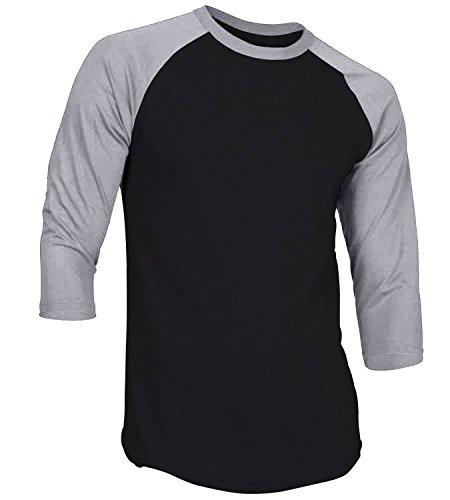 Men's Plain Athletic 3/4 Sleeve Baseball Sports T-Shirt Raglan Shirt S-XL Team Jersey Black Gray M