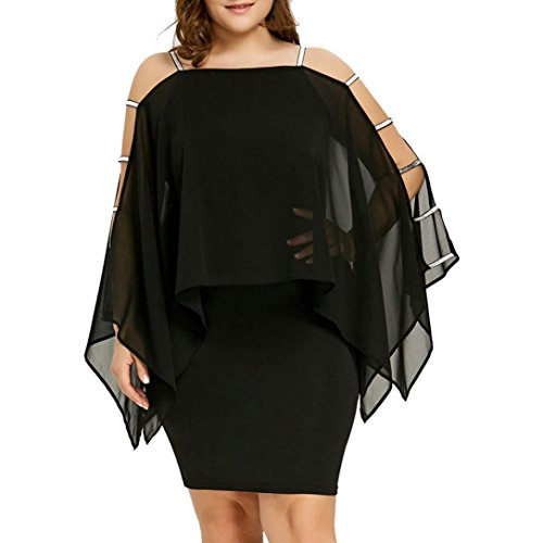 GoodLock Women Girls Fashion Dress Lady Female Plus Size Ladder Cut Overlay Asymmetric Chiffon Strapless Mini Dress (Black, Size:4XL)