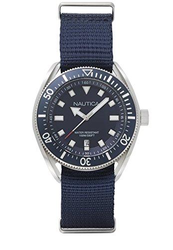 Nautica Men's 'PORTOFINO' Quartz Stainless Steel and Silicone Casual Watch, Color:Blue (Model: NAPPRF001)