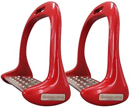 YYWJ Steigbügel für Pferde, rutschfestes Aluminium, Sicherheitspedal, für Outdoor-Sportarten, Reiter, 1 Paar, nicht null, rot, Free Size