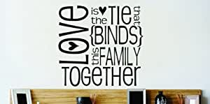 Design with Vinyl – CA Omg 201 Love is The Tie That {Binds} This Family Together Quote Lettering Decal Home Decor Kitchen Living Room Bathroom, 20-Inch by 20-Inch, Black