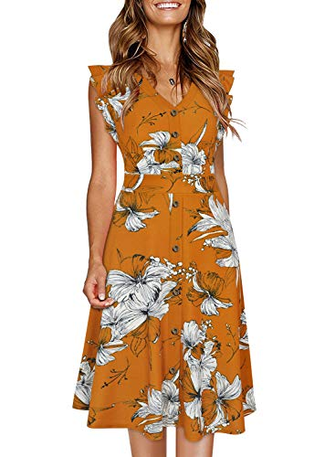 Ranphee Womens Ruffle-Frame Sleeveless V Neck Cotton A-Line Button Down Dress (XL, Orange Floral)