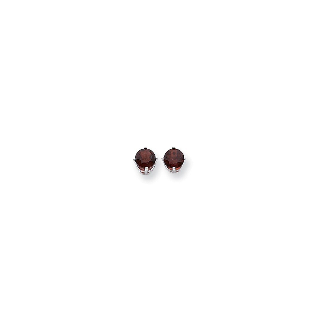 ICE CARATS 14k White Gold 6mm Red Garnet Post Stud Ball Button Earrings Gemstone Fine Jewelry Gift Set For Women Heart