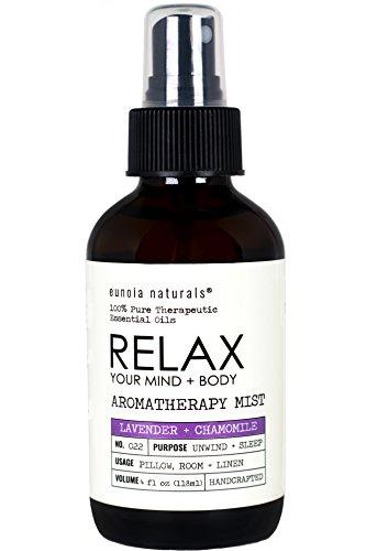 RELAX Your Mind & Body, Lavender + Chamomile Aromatherapy Spray, Lavender Pillow Mist, Lavender Sleep Spray, Lavender Pure Essential Oils, Calming Mist, Large 4oz Glass Bottles, eunoia naturals (Mist Pillow)