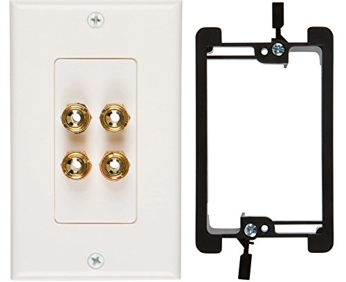 Buyer's Point Two Speaker Wall Plate, Premium Quality Gold Plated Copper Banana Binding Post Coupler Type, with Single Gang Low Voltage Mounting Bracket Device ()