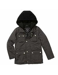 Urban Republic Boys Fleece Lined Hooded Washed Cotton Twill Cargo Safari Jacket