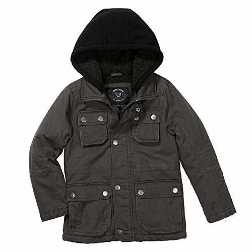 - Urban Republic Boys Fleece Lined Hooded Washed Cotton Twill Cargo Safari Jacket (Medium (10/12), Dark Charcoal)