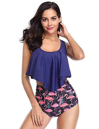 Fancyskin Switmsuit for Women Two Pieces Bathing Suits Top Ruffled Racerback with High Waisted Bottom Tankini Set Navy Blue ()