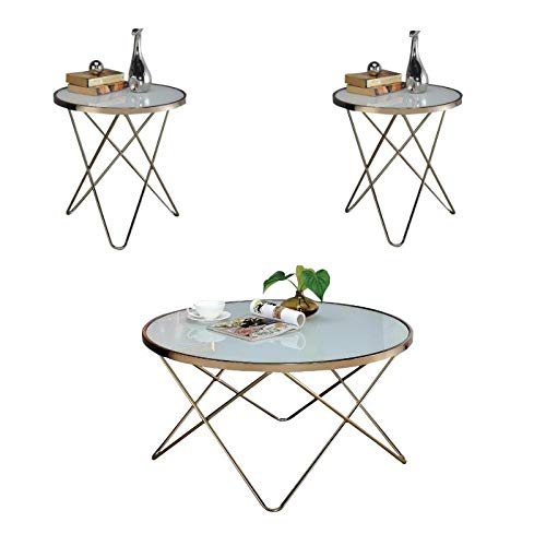 (Acme Furniture 3 Piece Modern Coffee Table and End Table Set in Champagne)