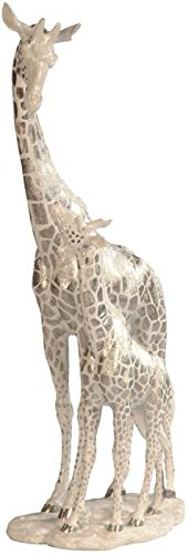 StealStreet SS-G-54244 Giraffe with Calf Wildlife Decoration Statue, White/Silver