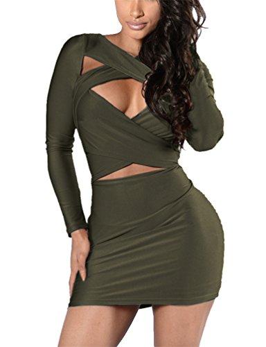 Plus Size Club Wear (Women's Long Sleeve Cut Out Bandage Bodycon Party Clubwear Mini Dress S Green)