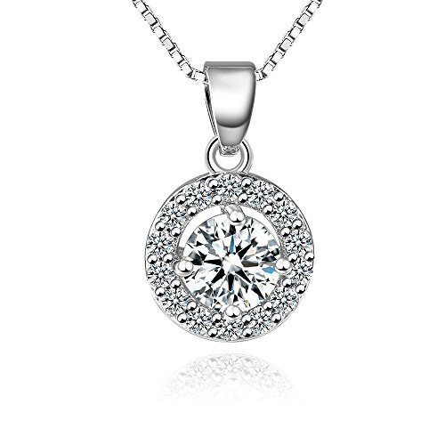 Fleur Rouge - fleur rouge Round Halo Pendant Necklace 18k white gold plated Cubic Zirconia Pendant Necklace with Box Chain
