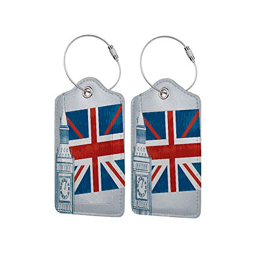 Waterproof PU Leather Luggage Tags Options Soft and Comfortable No Scratching,Concept of The Clock Tower and The English Flag,for Baggage/Suitc