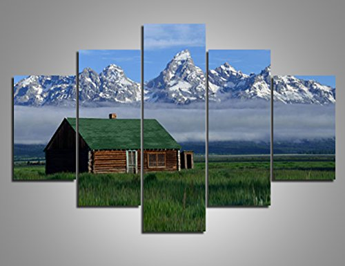Cottage Framed Picture Art Decor (Pictures for Living Room Green Cottages Wall Art Painting Grand Teton National Park Landscape Canvas 5 Panel Artwork Home Decor Modern Framed Gallery-wrapped Stretched Ready to Hang(60''Wx40''H))