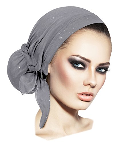 - ShariRose Pre-Tied Head Scarf Tichel Head Cover for Women Weightless Collection! Over 30 Colors! Handmade (Gray Sparkles Long)