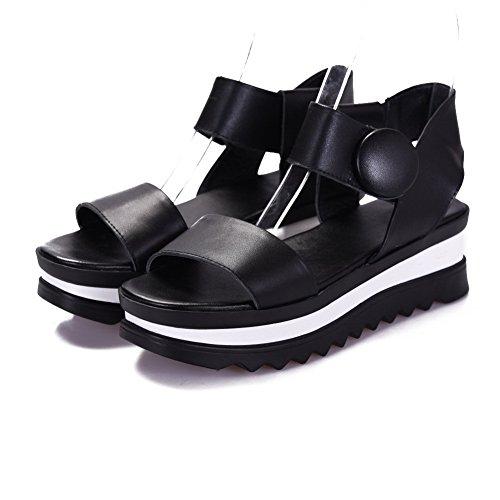 AllhqFashion Womens Hook And Loop Kitten Heels Cow Leather Solid Open Toe Sandals Black wGAeEr66