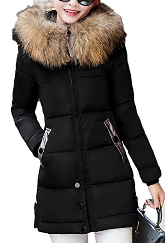 Quilted Black Slim Padded Down Womens EKU Fit Faux Hood Fur Zip Coat Up Jacket wO4Sqx8O