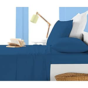 """Super Soft 550 Thread Count 3 Pieces Fitted Sheet Olympic Queen Size with 15"""" deep pocket in New Royal Blue color and Solid Pattern [ 100% Egyptian Cotton ]"""