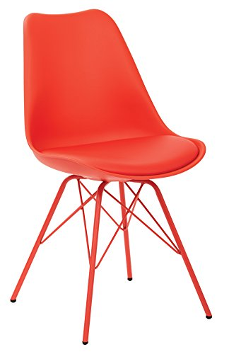 AVE SIX Emerson Polyurethane Seat Armless Visitors Chair with Chrome Legs, Red - Emerson Dining Room Chair