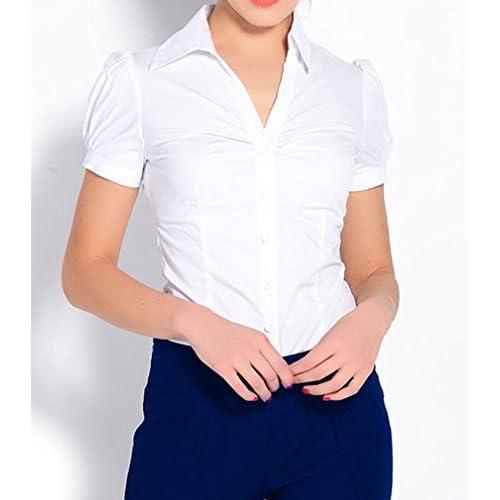 Soojun Women Short Sleeve Button Down Career Shirt Bodysuit Blouse outlet 1a7d12a9c
