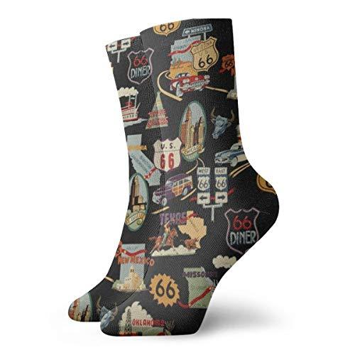 Casual Crew Dress Socks For Girls - Southwest Alexander Henry Vintage USA Route 66 Athletic Socks - Womens Fashion Novelty Gift Short Socks For Wedding Party Everyday