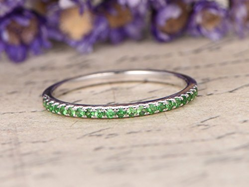 14k Tsavorite Ring (Natural Round Cut Tsavorite Wedding Band Solid 14k White Gold Half Eternity Green Gemstone Engagement Ring Stacking Bridal Set Stackable Anniversary Gift Matching Band Birthstone)