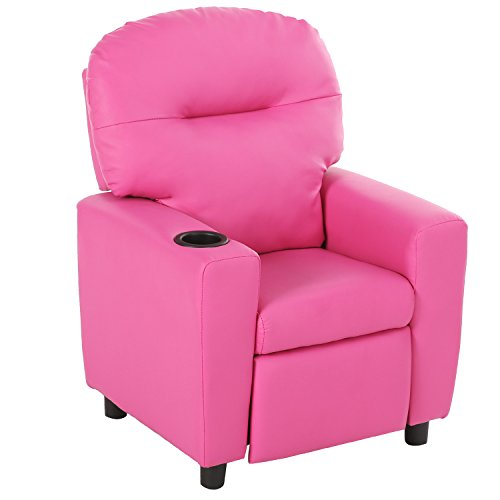 41r9EQvTE7L - Harper&Bright Designs Kids Recliner with Cup Holder PU Leather Sofa Chair for Child (Pink)