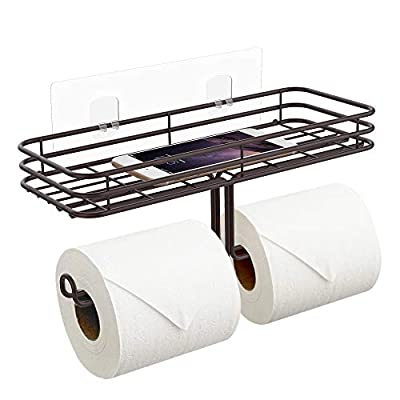 ODesign Toilet Paper Holder with Shelf Tissue Paper Roll Towel Holder Storage Rack with Traceless Transparent Adhesive No Drilling - Bronze
